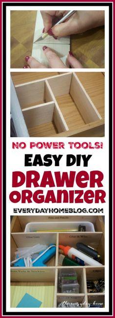 DIY Drawer Organizer - NO POWER TOOLS NEEDED!   The Everyday Home Blog   www.everydayhomeblog.com