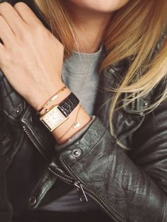 Style...Camilla Pihl // leather jacket style and chic details // gold accessories and chic watch