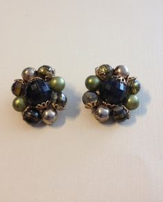 Beau Jewels Cluster of Beads Clip On Earrings by vintagerepublic1, $14.00