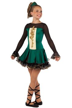15274 Irish Eyes Are Smiling | Tap Jazz Irish Step Dance Costumes | Dansco 2015 | Forest spandex and black mesh leotard with ivory spandex insert and attached matching panel skirt. Separate black ruffled chiffon underskirt. Gold sequin and gold sequin applique trim. Headpiece and binding ties included.