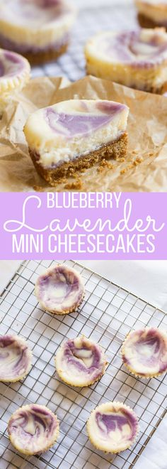Blueberry Lavender Mini Cheesecakes are a cute addition to any springtime party. With a blueberry lavender swirl, they're light, fruity, floral and fun!