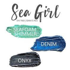 Sea Girl Eye Trio uses three SeneGence ShadowSense: LE Seafoam Shimmer ShadowSense, Denim ShadowSense, and Onyx ShadowSense.  These cream to powder eyeshadows will last ALL DAY on your eye.  #shadowsense #eyeshadow
