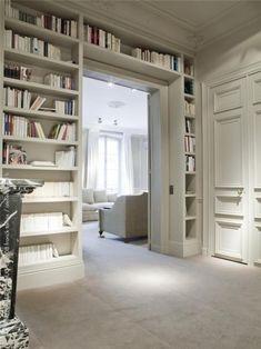 white bookshelves with pocket doors. Home Library Design, House Design, House, Shelves, Small Spaces, Home, Home Libraries, House Interior, White Bookshelves