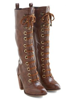 Lace up tall Steampunk Boots - Prospectress Boot $69.99  #steampunk  #boots #shoes