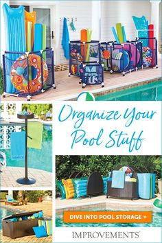 pool accessories Keep your pool area neat and tidy with pool organization solutions,including mesh bins, wicker storage, towel bars, and more. Pool Float Storage, Pool Toy Storage, Beach Towel Storage, Pool Organization, Pool Hacks, Diy Pool, Pool Fun, Pool Care, Ideas Para Organizar