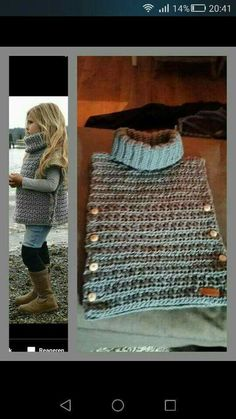 Poncho from CCC - poncho with moss stitch with a pocket on front. Poncho Pattern: Chain the chains with a slip SC, increase on every Knit Or Crochet, Crochet Scarves, Crochet For Kids, Crochet Shawl, Crochet Crafts, Crochet Clothes, Crochet Projects, Knitting For Kids, Baby Knitting Patterns