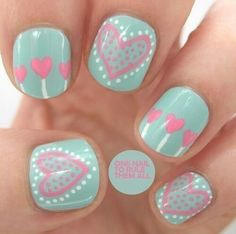 Pastel heart nail art
