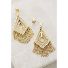 Sarah Magid Fringed Geo Earrings ($198) ❤ liked on Polyvore featuring jewelry, earrings, gold, geometric earrings, fringe earrings, geometric jewelry, fringe jewelry and earrings jewelry