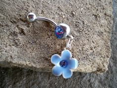 body jewelry blue flower belly button ring by sindys on Etsy