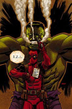 Deadpool & Hulk: Last Will artwork by Dave Johnson (2012)