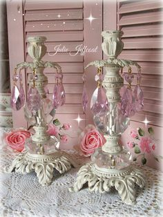 These heavy Vintage Pink Crystal Prism Candle holders - listed on Etsy. Candles, Candle Holders, Vintage Pink, Candlelabra, Crystal Prisms, Romantic Shabby Chic, Holder, Vintage, Etsy