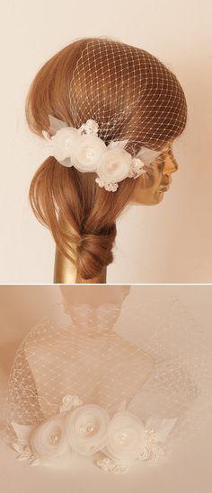 BIRDCAGE VEIL. Ivory veil .Romantic wedding by ancoraboutique, $115.00