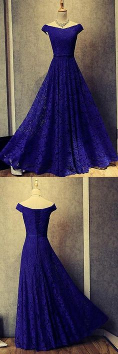 Off-The-Shoulder Royal Blue Lace Long Prom/Evening Dress #promdresses #longpromdresses #royalbluepromdresses #eveningdresses #eleganteveningdresses
