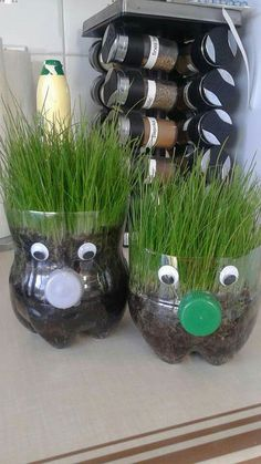 Mothers Day Gifts 2019 plastic bottle mini herb garden Spring crafts for kids, Diy spring crafts, Cr Spring Crafts For Kids, Crafts For Kids To Make, Kids Crafts, Gifts For Kids, Diy And Crafts, Kids Diy, Garden Crafts For Kids, Rock Crafts, Homemade Crafts