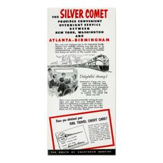 The Seaboard RailRoad Silver Comet Train Vintage Poster
