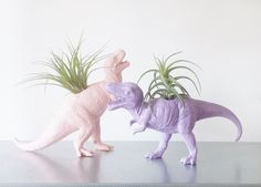 Dinosaur Planters in Pastel//Animal Planters by PlantandColor//I need dis