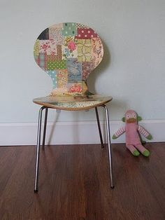 another decoupage chair....quilt style