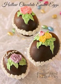 How to Make Hollow Chocolate Easter Eggs - The tutorial includes decorating tips