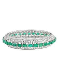 Bapalal Keshavlal 18k Diamond and Emerald Bangle Bracelet  l London Jewelers