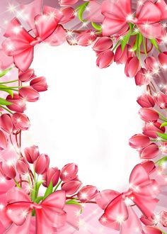 Beautiful Transparent PNG Frame with Red Tulips