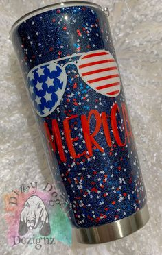 Blue glitter with red white and blue stars 'MERICA tumbler. Vinyl Tumblers, Custom Tumblers, Personalized Tumblers, Glitter Cups, Blue Glitter, Glitter Tumblers, Christmas Tumblers, Hot Dog Bar, Blue Cups