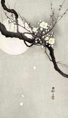 Plum Blossom Print Moon Art Print Japanese Art Print Black | Etsy Japanese Painting, Chinese Painting, Chinese Art, Japanese Art Prints, Art Vert, Print Image, Asian Wall Art, Impressions Botaniques, Ohara Koson