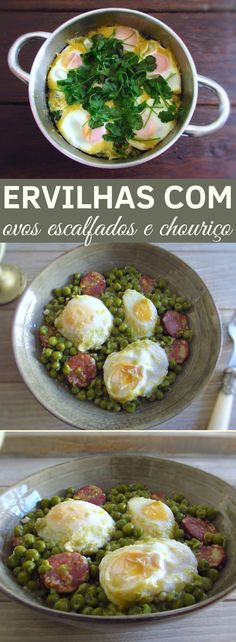 Going to invite your family to lunch and want to prepare a simple meal with excellent presentation? Prepare this tasty recipe of peas cooked with poached eggs and chouriço, your family will love it. Portuguese Recipes, Portuguese Food, Cooking Instructions, Food Website, Latest Recipe, Home Food, Poached Eggs, Easy Meals, Brunch