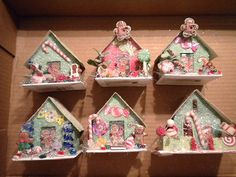 Vintage Style Putz Glitter Candy Houses