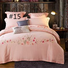 Egypt Cotton Coffee Bule Embroidery Luxury Oriental Bedding set – I sell what I love