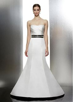 CAPTIVATING SATIN TRUMPET STRAPLESS DRAPED BODICE BEADED NATURAL WAIST WEDDING DRESS LACE FORMAL PROM PARTY