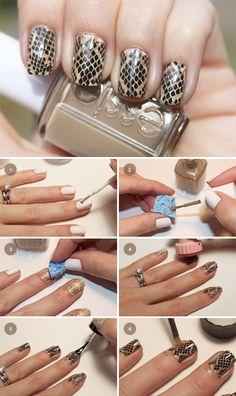 nails- Snakeskin Manicure DIY by Fab Fatale Diy Nails, Cute Nails, Pretty Nails, Snake Skin Nails, Nagel Hacks, Manicure Y Pedicure, Manicure Ideas, Diy Nail Designs, Stylish Nails