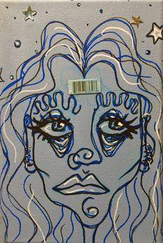 Cool Art Drawings, Art Drawings Sketches, Indie Drawings, Drawing Ideas, Hippie Painting, Arte Sketchbook, Indie Art, Funky Art, Weird Art