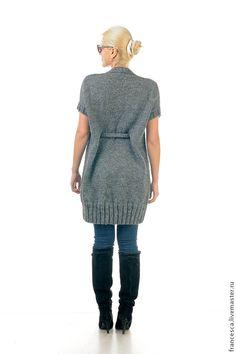 Купить Длинное вязаное платье-туника - винтаж и деним в Вашем образе - темно-серый, однотонный