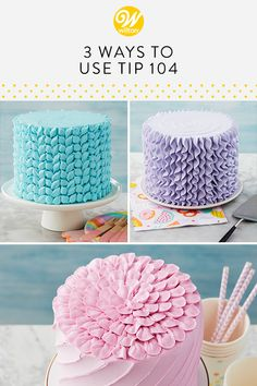 3 Ways to Use Tip 104 Make lovely pastel cakes for your spring or summer celebration using pet Cake Decorating Piping, Creative Cake Decorating, Cake Decorating Techniques, Cake Decorating Tutorials, Creative Cakes, Cookie Decorating, Decorating Cakes, Icing Tips, Frosting Tips