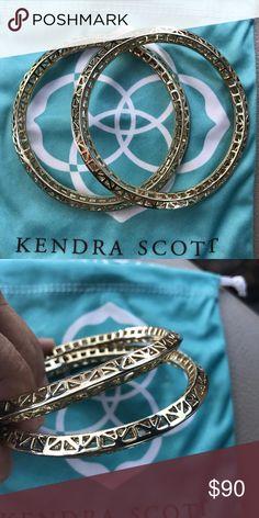 Kendra Scott Bethany Bangles set of 2 Retired Bangles in gold comes in dust bag Kendra Scott Jewelry Bracelets