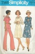 An original ca. 1975 Simplicity Pattern 7148.  Dress or Top and Wide-Leg Pants in Half-Sizes: The top-stitched dress V. 1 or top V. 2 softly gathered to buttoned neck band has front zipper, raglan sleeves, slightly lowered round neckline and optional purchased belt. V. 1 has long sleeves gathered to buttoned cuffs. V. 2 has short flared sleeves. Pants V. 2 have back zipper and elastic waistline casing.