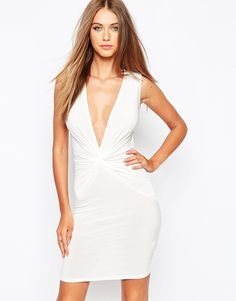 Image 1 ofMissguided Slinky Knot Front Plunge Dress
