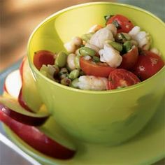 Edamame and Bean Salad with Shrimp and Fresh Salsa by cookinglight #Salad #Shrimp #Edamame #cookinglight