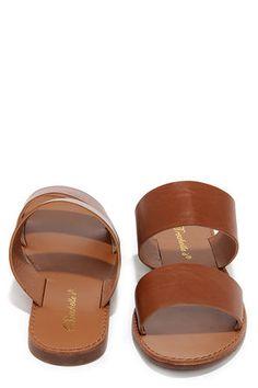 Chic Tan Sandals - Slide Sandals - Vegan Leather Sandals - $17.00