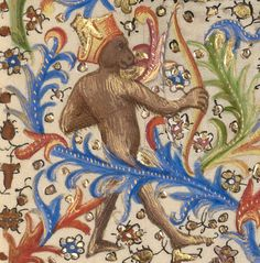 Monkey archer, David in Prayer, from a Book of Hours, Spitz Master, about 1420. J. Paul Getty Museum