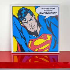 Looks like a job for Affiche filmée Dc Comics Poster, Comic Book Frames, Superhero Gifts, Superman Art, Shops, Superhero Characters, Boy Art, Decoration, Framed Art Prints