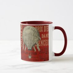 Steampunk Hot Air Ballon Ride Graphic Fonts in Red Mug - occasion gifts gift idea diy