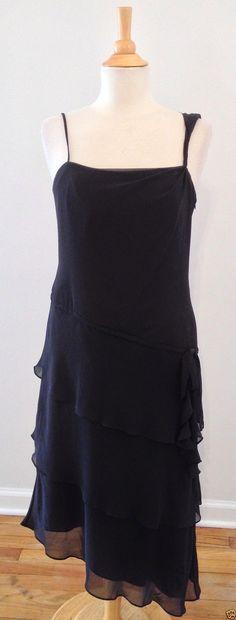 David's Bridal Black Tiered Chiffon Sleeveless Bridesmaid Cocktail Dress 10 GUC | eBay #RecycledCouture #Fashion #eBay