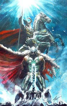 Thor and Odin - Asgard - Marvel Marvel Comics, Hero Marvel, Arte Dc Comics, Marvel Art, Captain Marvel, Asgard Marvel, Captain America, Comic Book Characters, Comic Book Heroes