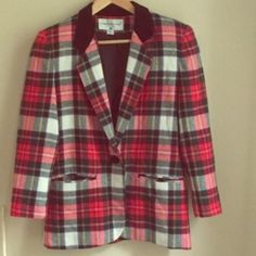 Vintage plaid blazer Great condition. Red black and white plaid with a hint of green. Velvet collar. Has shoulder pads. Great to wear with a velvet dress and boots, black dress and heels, or dark denim with a sweater. Jackets & Coats Blazers