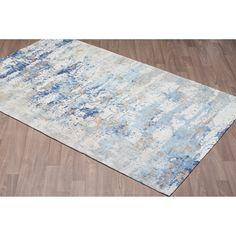 Vestige Cotton Chenille Palazzo Blue Abstract Area Rug - 8' x10'