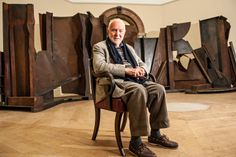 Sir Anthony Caro with his eight-metre-long sculpture, Shadows, at the Royal Academy.  1924-2013 RIP