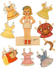 Retro Girl Paper Doll Party Frocks Peter Pan by mindfulresource