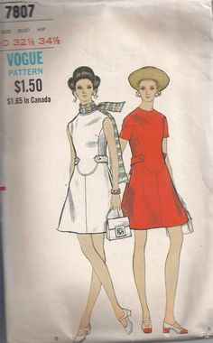 Vogue 7807mod dress with belt detail sewing pattern