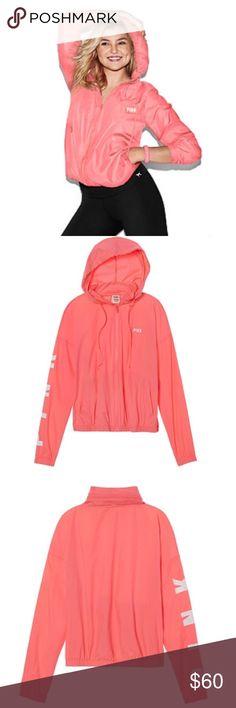 🆕 Victoria's Secret Pink Anorak Jacket New in package. Victoria's Secret Pink lightweight Anorak jacket. Neon coral color. PINK Victoria's Secret Jackets & Coats